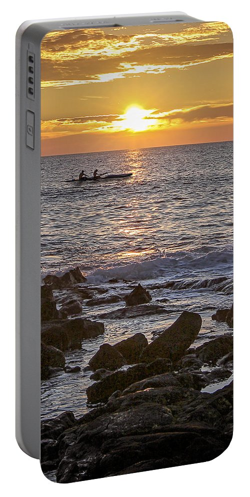 Canoe Portable Battery Charger featuring the photograph Paddlers At Sunset Portrait by Denise Bird