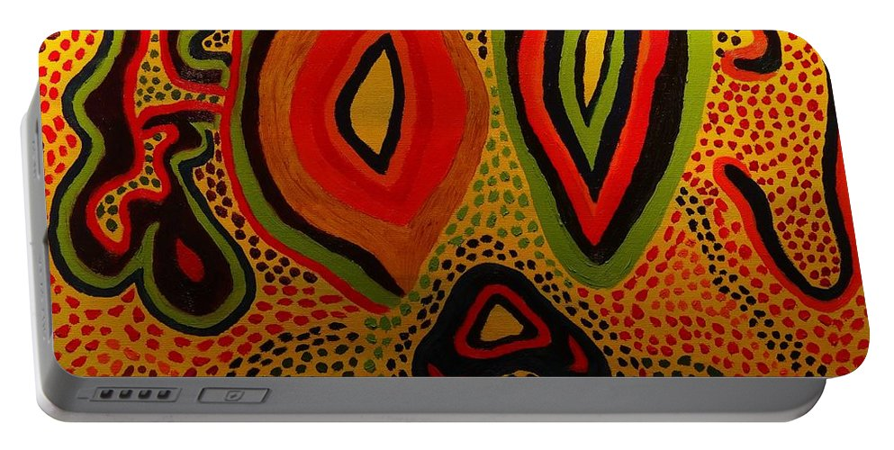 Abstract Portable Battery Charger featuring the painting Pain And Agony by Douglas W Warawa