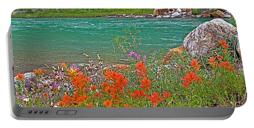 Paintbrush By Bow River In Banff National Park Portable Battery Charger featuring the photograph Paintbrush By Bow River In Banff Np-ab by Ruth Hager