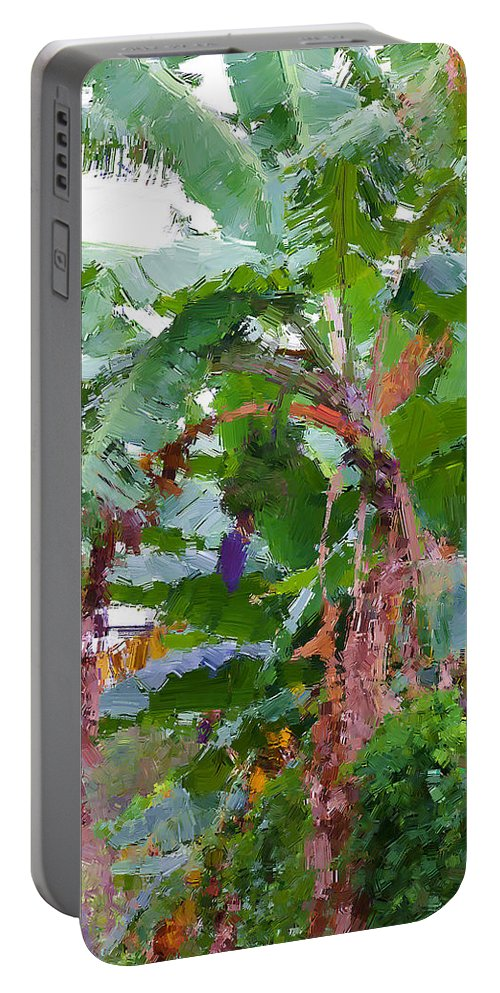 Banana Plant Portable Battery Charger featuring the photograph Painted Banana Plant by Alice Gipson