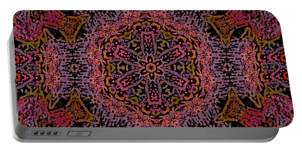 Kaleidoscope Portable Battery Charger featuring the photograph Painted Lobster Kaleido by Kathy Clark