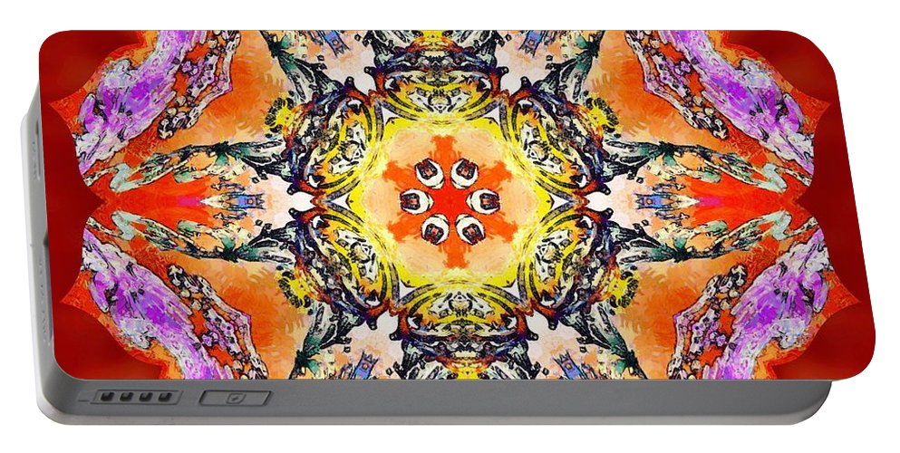 Sacredlife Mandalas Portable Battery Charger featuring the painting Painted Lotus Xvii by Derek Gedney