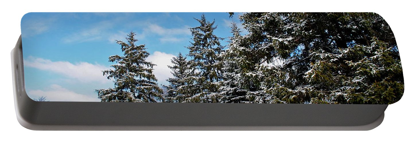 Painted Portable Battery Charger featuring the photograph Painted Pines by Frozen in Time Fine Art Photography