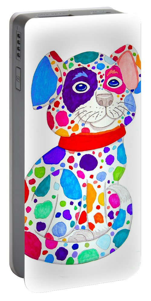 Dog Portable Battery Charger featuring the drawing Painted Pooch by Nick Gustafson