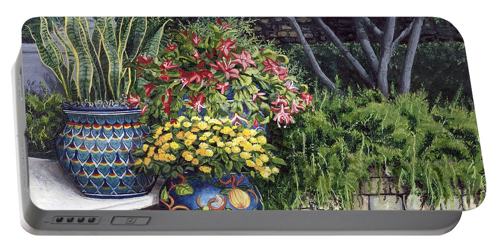Floral Portable Battery Charger featuring the painting Painted Pots by Mary Palmer