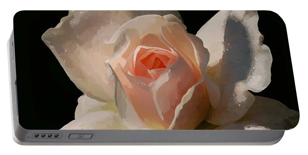 Rose Portable Battery Charger featuring the digital art Painted Rose by Lois Bryan