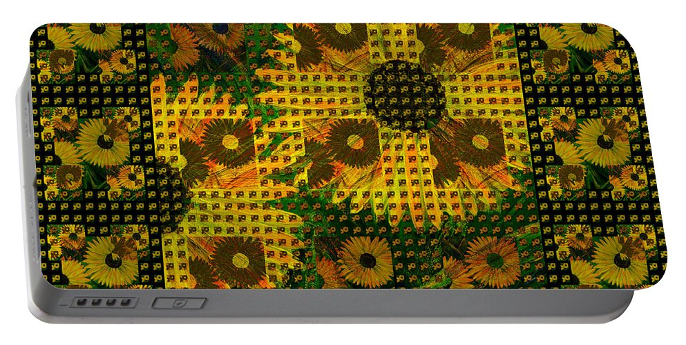 Sunflowers Portable Battery Charger featuring the painting Painted Sunflower Abstract by Barbara Moignard