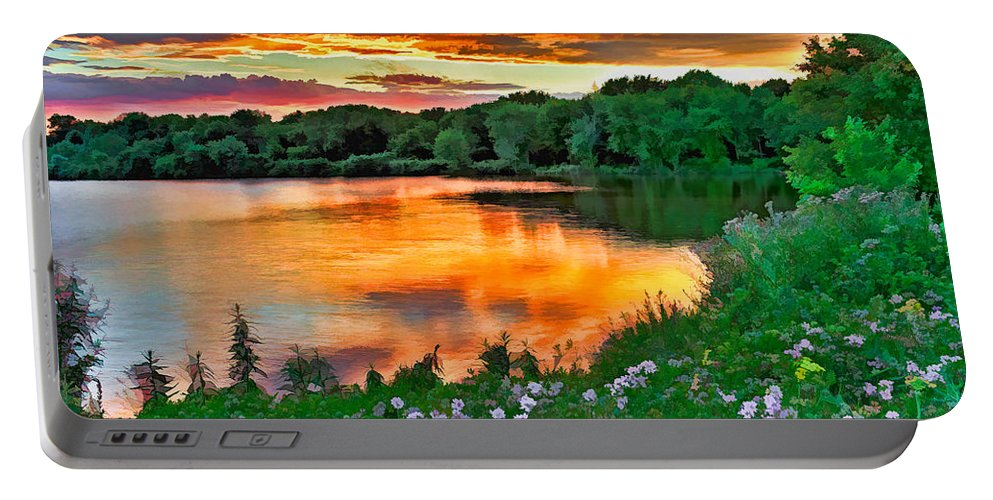 Sunset Portable Battery Charger featuring the photograph Painted Sunset by William Jobes