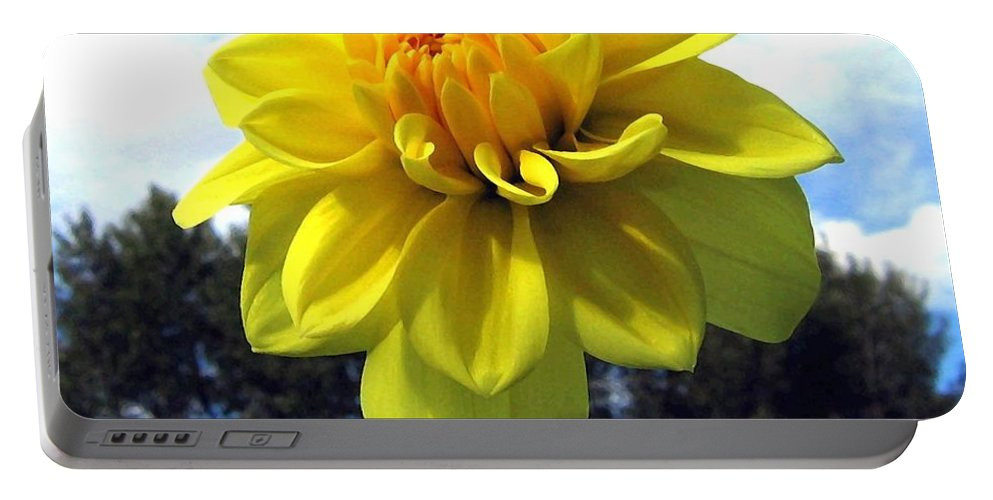 Painted Yellow Dahlia Portable Battery Charger featuring the digital art Painted Yellow Dahlia by Will Borden