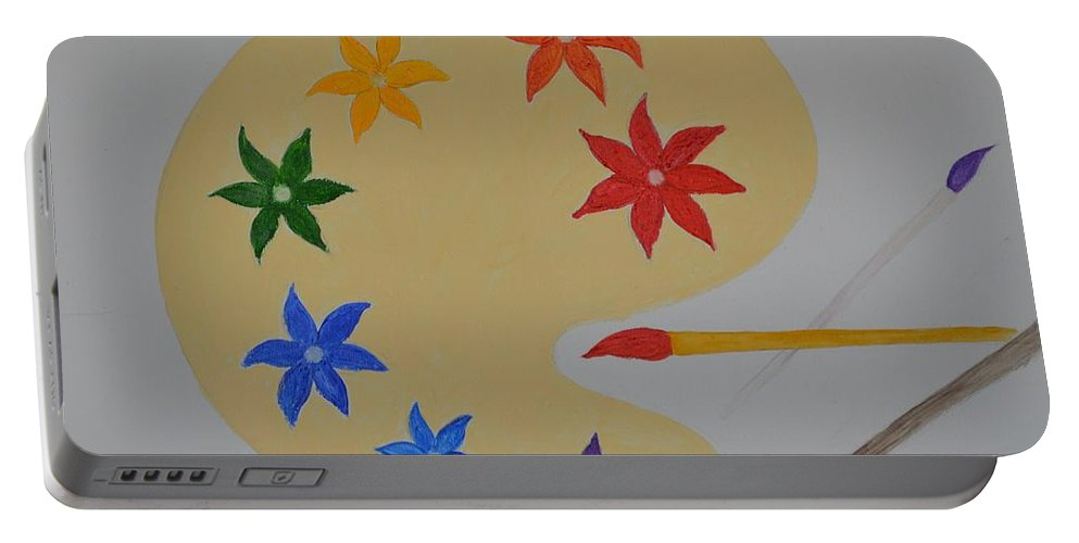 Rainbow Palette Portable Battery Charger featuring the painting Painter's Bliss by Sonali Gangane