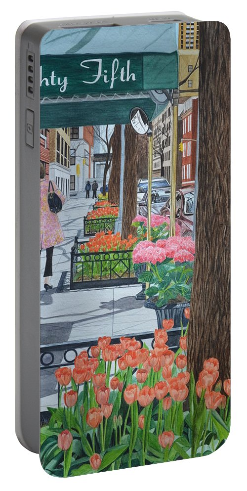 New York Portable Battery Charger featuring the painting Painting The New York Street by Swati Singh