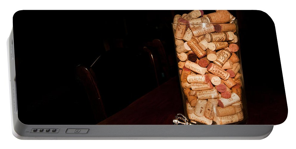 Wine Cork Bottle Portable Battery Charger featuring the photograph Palaver Corks by Randall Branham