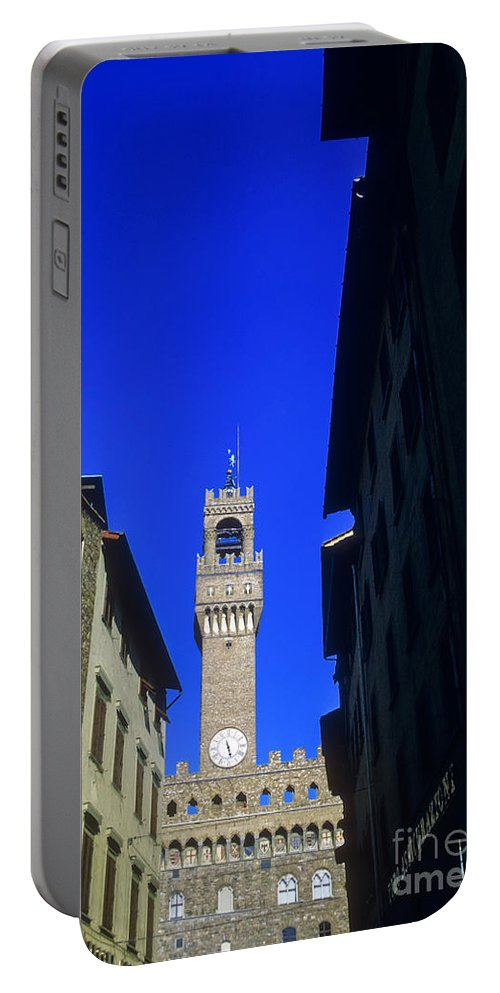 Palazzo Vecchio Florence Italy Towers City Cities Florence Clock Tower Architecture Building Buildings Structure Structures Cityscape Cityscapes Portable Battery Charger featuring the photograph Palazzo Vecchio Clock Tower by Bob Phillips