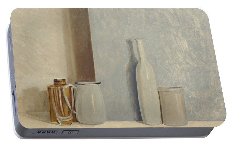 Still Life Portable Battery Charger featuring the painting Pale Grey And Blue by William Packer