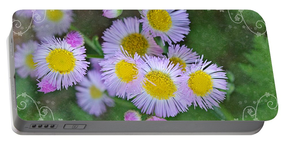 Nature Portable Battery Charger featuring the photograph Pale Pink Fleabane Blooms With Decorations by Debbie Portwood