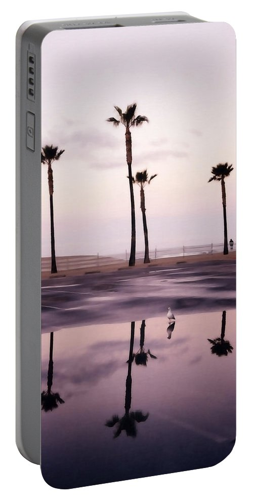 Santa Monica Portable Battery Charger featuring the photograph Palm Tree Reflections by Art Block Collections