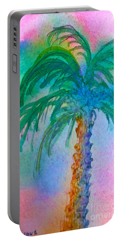Palm Springs Portable Battery Charger featuring the painting Palm Tree Study by Teresa Ascone