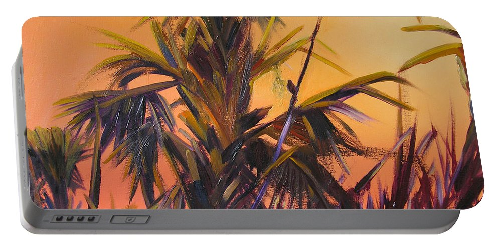 Impressionism Portable Battery Charger featuring the painting Palmettos At Dusk by Julianne Felton