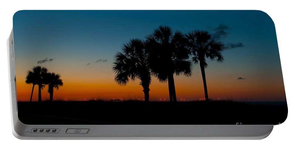 Palm Portable Battery Charger featuring the photograph Palms At Clear Dawn by Photos By Cassandra