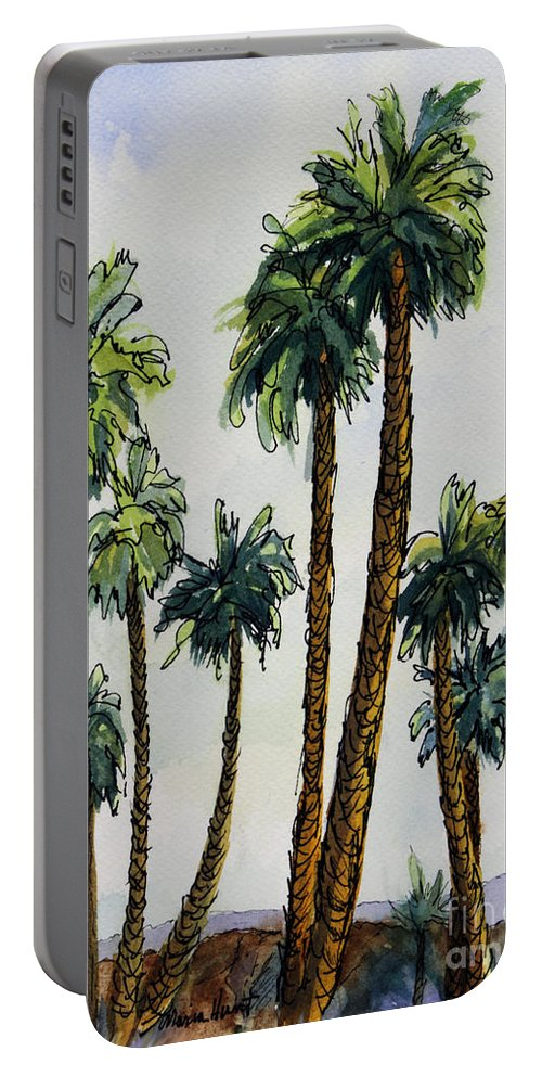 Palms Portable Battery Charger featuring the painting Things Are Looking Up.. by Maria Hunt