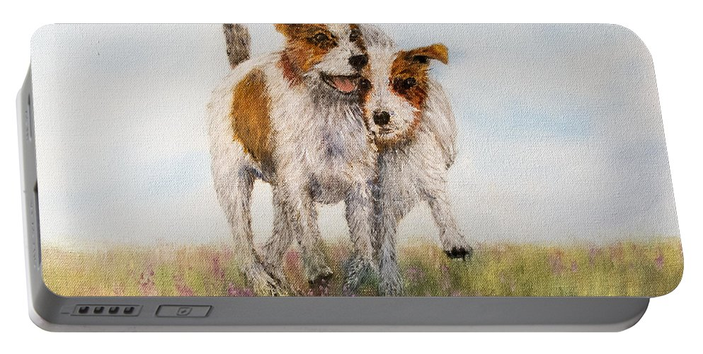 Jack Russell Terrier Portable Battery Charger featuring the painting Pals by Loretta Luglio