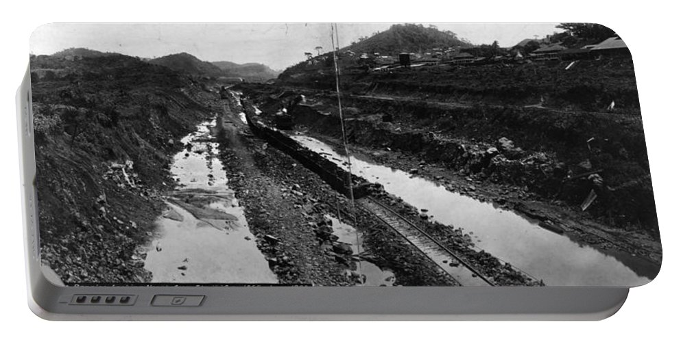 1908 Portable Battery Charger featuring the photograph Panama Canal, 1908 by Granger
