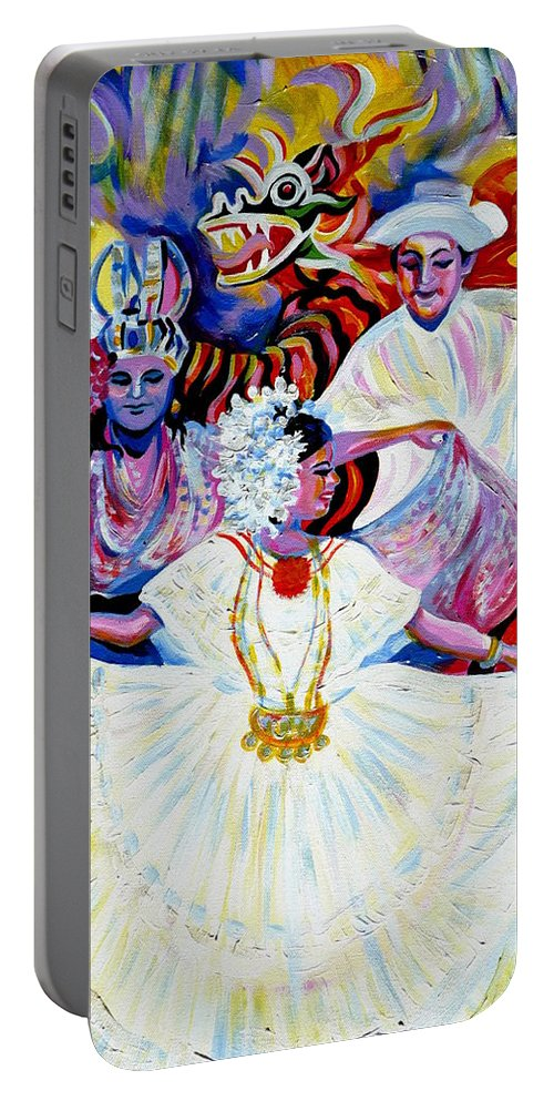 Travel Portable Battery Charger featuring the painting Panama Carnival. Fiesta by Anna Duyunova