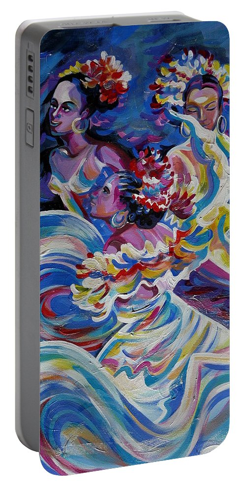 Carnival Portable Battery Charger featuring the painting Panama Carnival. Folk Dancers by Anna Duyunova