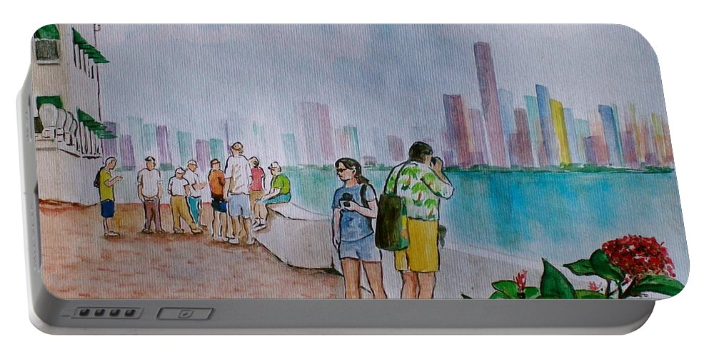 Panama City Tourists Tall Buildings People Flower Portable Battery Charger featuring the painting Panama City Panama by Frank Hunter