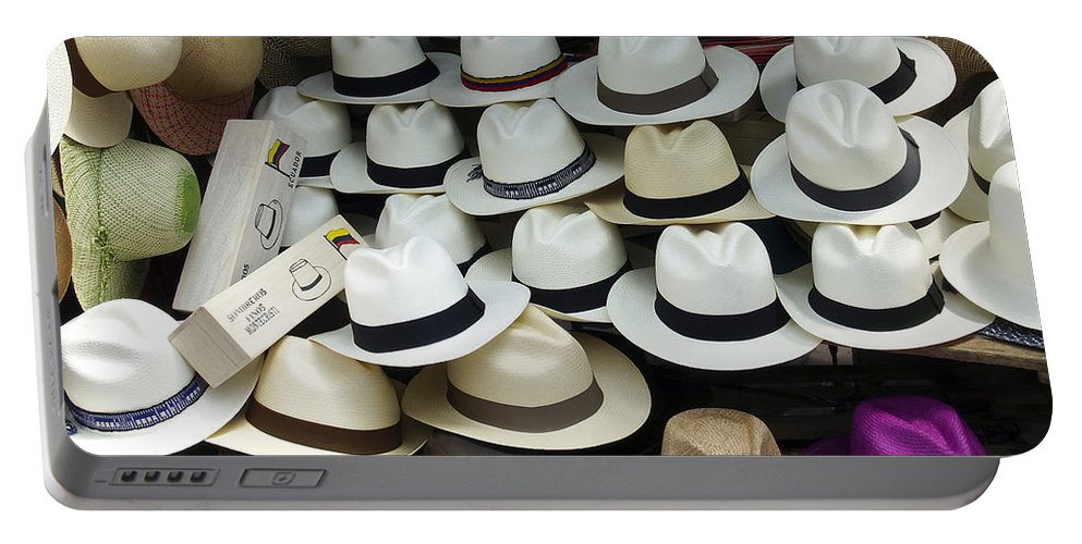 Hat Portable Battery Charger featuring the photograph Panama Hats In Ecuador by Kurt Van Wagner