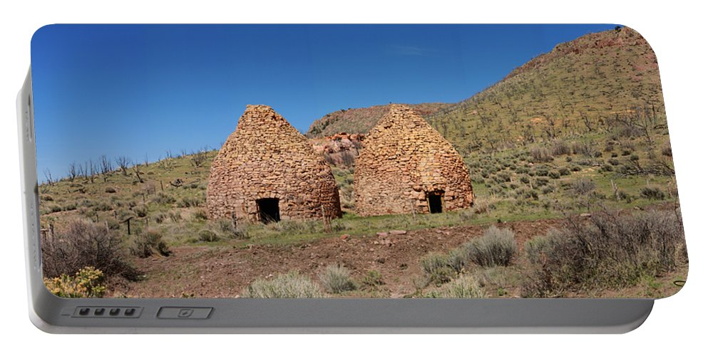 Landscape Portable Battery Charger featuring the photograph Pananca Summit Charcoal Kilns by David Salter