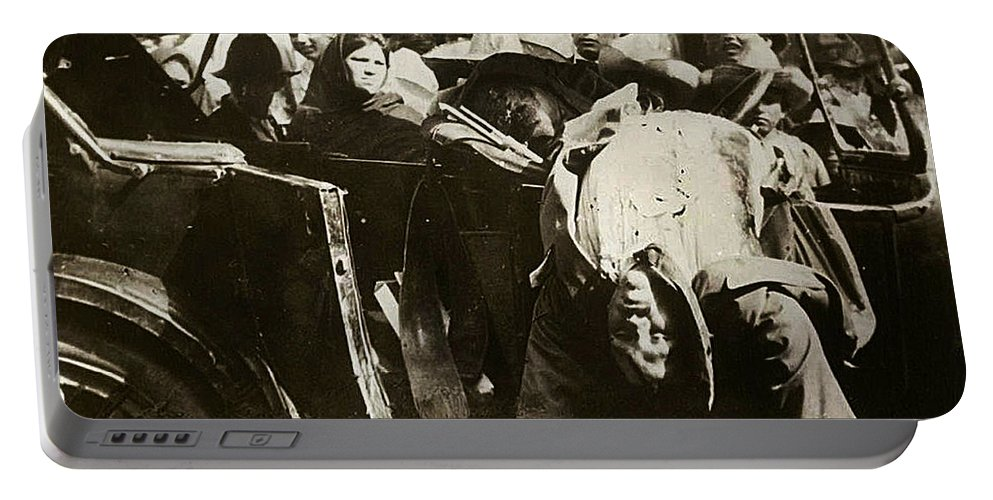 Pancho Villa Ambushed July 20 1923 1923 Dodge Touring Car Sepia Toned Red Added Portable Battery Charger featuring the photograph Pancho Villa Ambushed July 20 1923 1923 Dodge Touring Car 1923-2013 by David Lee Guss