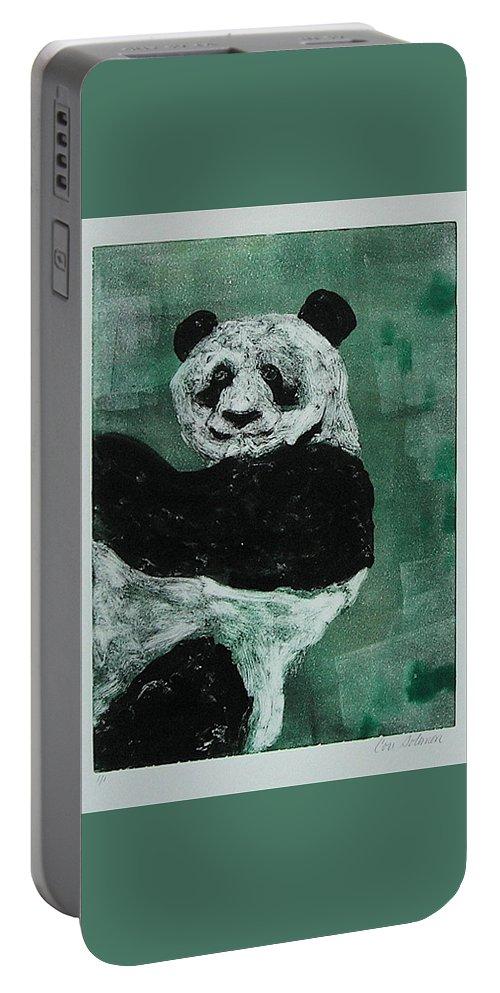 Panda Portable Battery Charger featuring the mixed media Panda - Monium by Cori Solomon