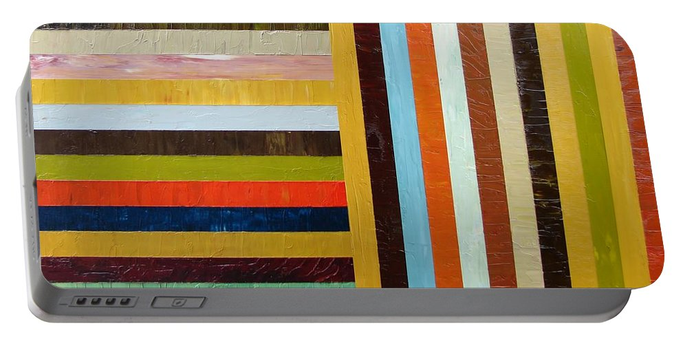 Original Art Portable Battery Charger featuring the painting Panel Abstract L by Michelle Calkins