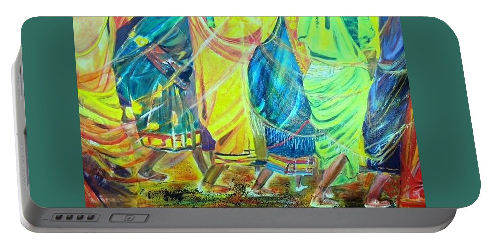 Women Walking Portable Battery Charger featuring the painting Panjim by Peggy Blood