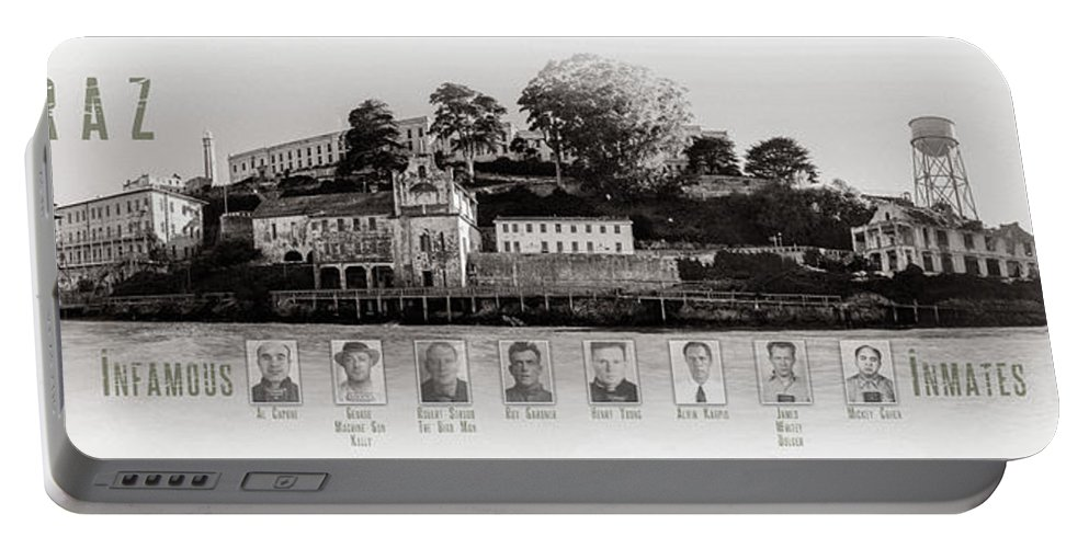 Alcatraz Portable Battery Charger featuring the photograph Panorama Alcatraz Infamous Inmates Black And White by Scott Campbell