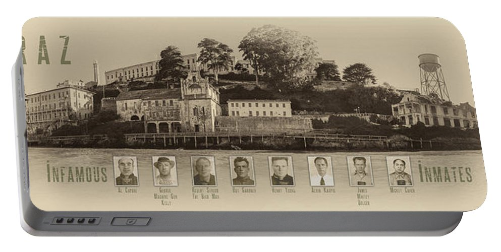 Alcatraz Portable Battery Charger featuring the photograph Panorama Alcatraz Infamous Inmates Sepia by Scott Campbell