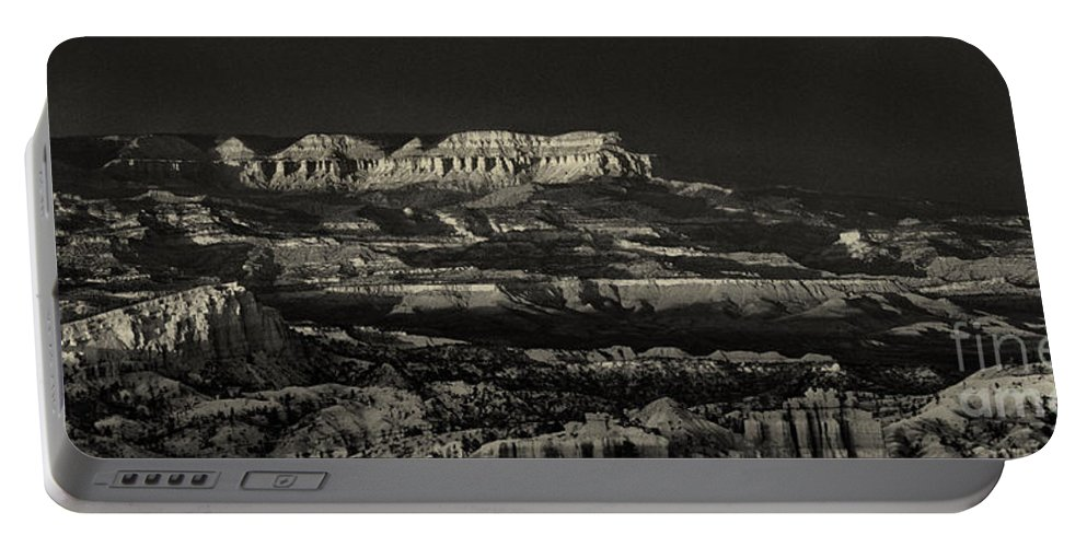 North America Portable Battery Charger featuring the photograph Panorama Bryce Canyon Storm In Black And White by Dave Welling