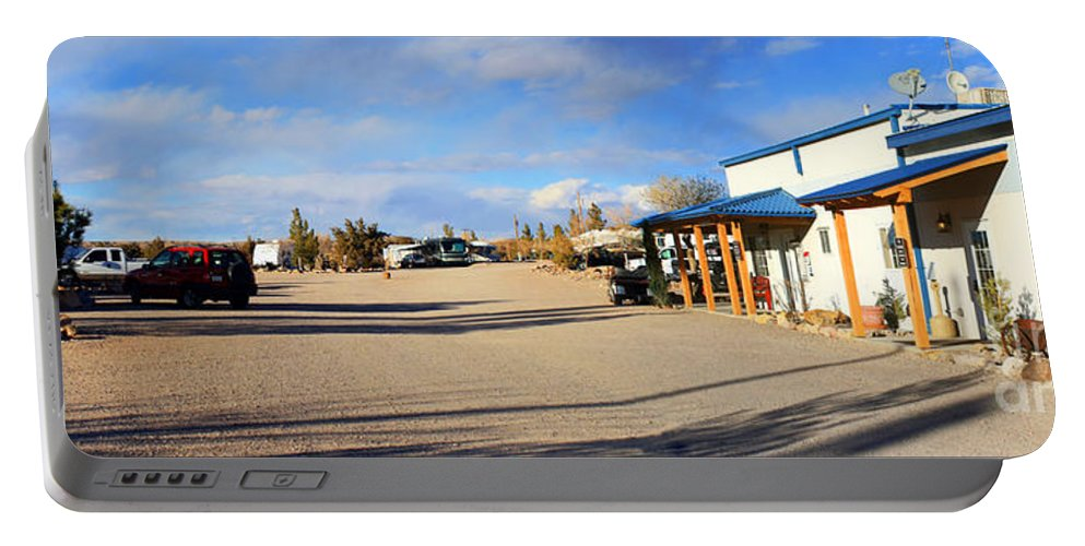 Roena King Portable Battery Charger featuring the photograph Panorama Cedar Cove Rv Park Street 3 by Roena King