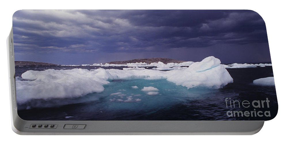 North America Portable Battery Charger featuring the photograph Panorama Ice Floes In A Stormy Sea Wager Bay Canada by Dave Welling