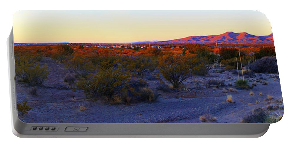 Roena King Portable Battery Charger featuring the photograph Panorama Morning View Of Mountains by Roena King