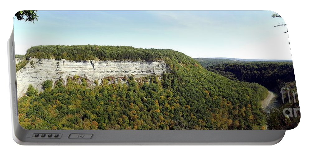 Cliffs Portable Battery Charger featuring the photograph Panorama Of Cliff At Letchworth State Park by Rose Santuci-Sofranko