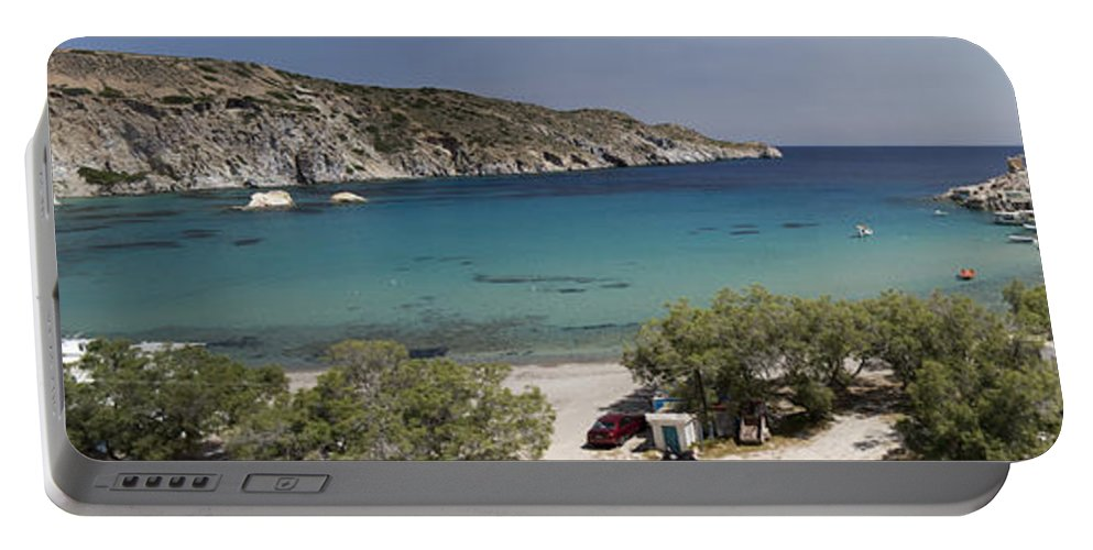 Touristic Portable Battery Charger featuring the photograph Panorama Of Mandrakia Fishing Village Milos Greece by David Smith