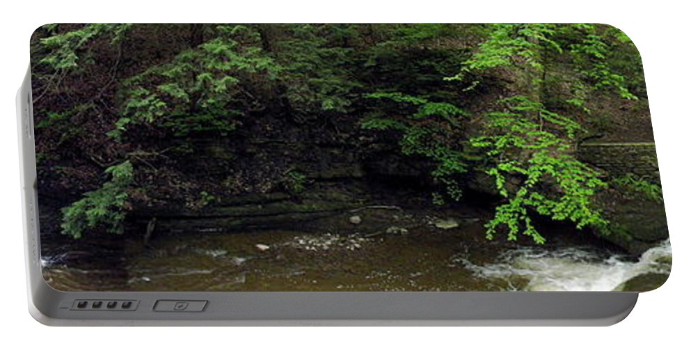 Wolf Creek Cascade Portable Battery Charger featuring the photograph Panorama Of Wolf Creek At Letchworth State Park by Rose Santuci-Sofranko