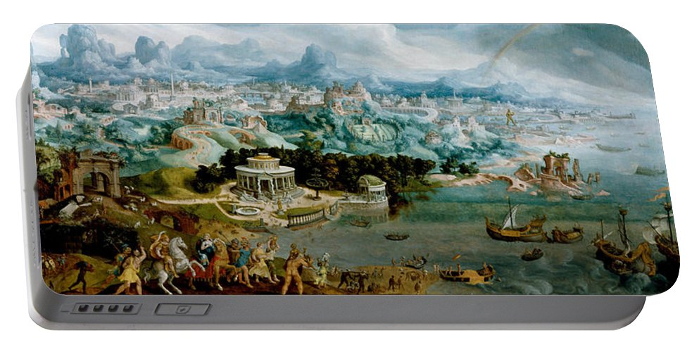 Maerten Van Heemskerck Portable Battery Charger featuring the painting Panorama With The Abduction Of Helen Amidst The Wonders Of The Ancient World by Maerten van Heemskerck