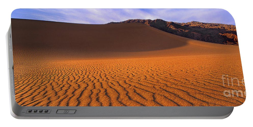 David Welling Portable Battery Charger featuring the photograph Panoramic Mesquite Sand Dune Patterns Death Valley National Park by Dave Welling