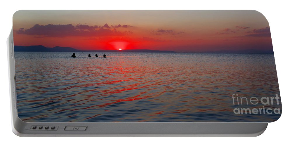 Sunset Portable Battery Charger featuring the photograph Panoramic Summer Sunset by Grigorios Moraitis