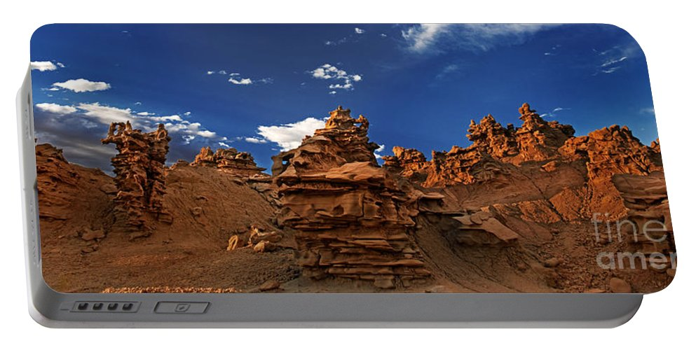 North America Portable Battery Charger featuring the photograph Panoramic Sunset Light On Sandstone Formations Fantasy Canyon by Dave Welling
