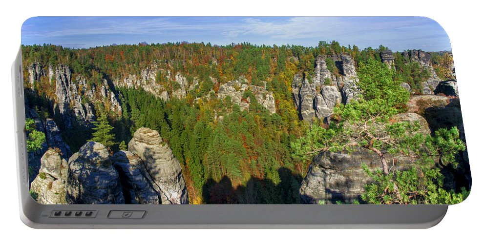Germany Portable Battery Charger featuring the photograph Panoramic View Of The Elbe Sandstone Mountains by Sun Travels