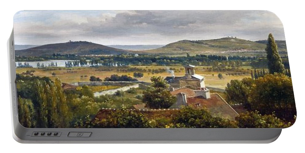 Theodore Rousseau Portable Battery Charger featuring the painting Panoramic View Of The Ile-de-france by Theodore Rousseau